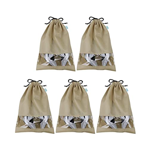 Portable Travel Shoe Organizer Storage Bags with Draw string Closure, Transparent View Window, Large Size for Mens Shoes, Mens Steel Toe Work Shoes, Boots etc. & Durable, Khaki, Pack of 5