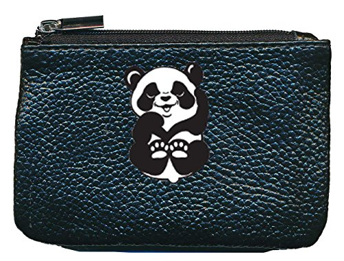 Petit Porte Monnaie en Cuir Porte cles Noir Panda