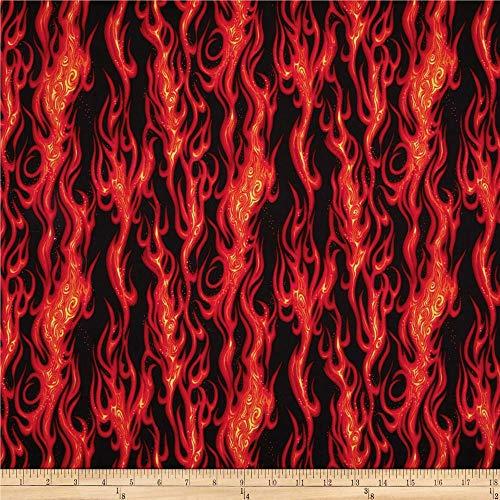 Robert Kaufman Movin On Flame Stripe Black Fabric By The Yard