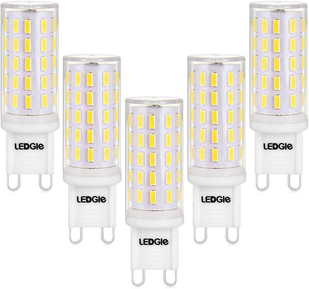 LEDGLE Bombillas LED G9 6W, No Regulable 54LEDs Blanco Frío 6000K Sin Parpadeo, 60W Bombilla Halógena Equivalente, Pack de 5