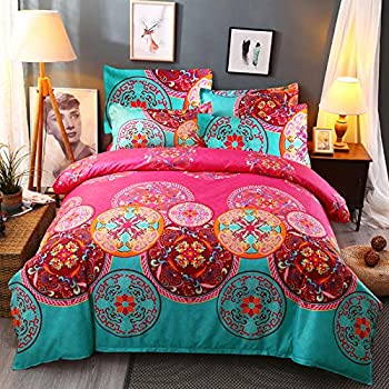 Argstar 3 Pcs Lightweight Microfiber Boho Duvet Cover Set Queen 3D Bohemian Exotic Floral Bedding Set Bright Pink Mandala Comforter Cover