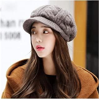 MUZIWENJU Hat, Ladies Warm Winter Wool Beret, Knit Cap, Black, Brown (Color : Brown)
