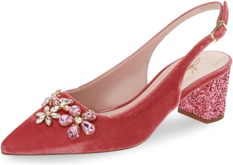 Nancy Jayjii Women Rhinestones Pointed Toe Glitter Slingback Mid Block Heel Wedding Pumps Red 11