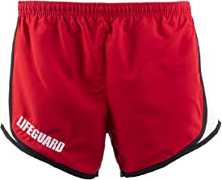 Lifeguard Girly Running Shorts | Red Women's Lifeguarding Swim Bottoms w/Liner