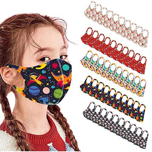 Preisvergleich Produktbild 10 / 30 / 50 Stück Kinder Mundschutz Weihnachten Druck Waschbar Bandana Halstuch Jungen Mädchen (50PCS,  J)