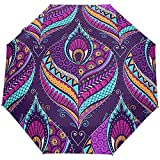 Vintage Mandala Flores Florales Pavo Real Auto Abrir Cerrar Paraguas Anti UV Plegable Paraguas automático Compacto