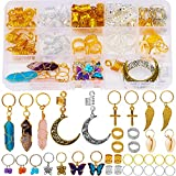 128 Pieces Dreadlock Accessories Hair Jewelry Crystal Wire Wrapped Handmade Natural Adornment Butterfly Braid Accessories Hair Rings Hair Charms for Braids Dreadlocks Hair Coil Hair Cuffs for Braids