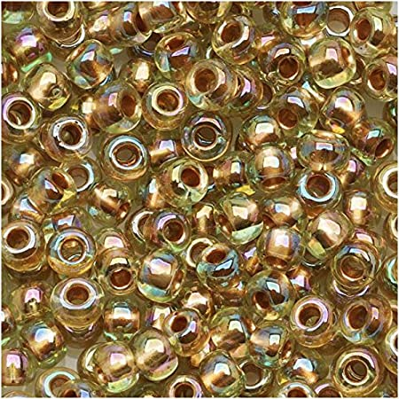 Blue TOHO seed beads size 60 Gold Lined Rainbow Aqua N 995 blue gold round japanese glass beads S292 10g
