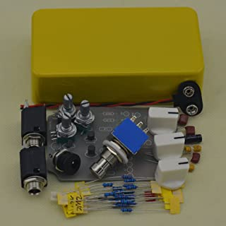 TTONE DIY Analog Tremolo Guitar Effects Pedal Stompbox Pedals Kit Yellow with Full Set of Parts Enclosure Unfinished(NO HOLES)