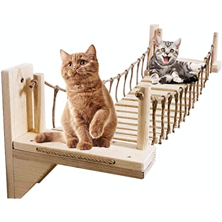 Umoraキャットタワー 木製 吊り橋 猫ベッド 遊び場 ハンモック ストレス解消 運動不足解消 組み立て簡単(100cm)