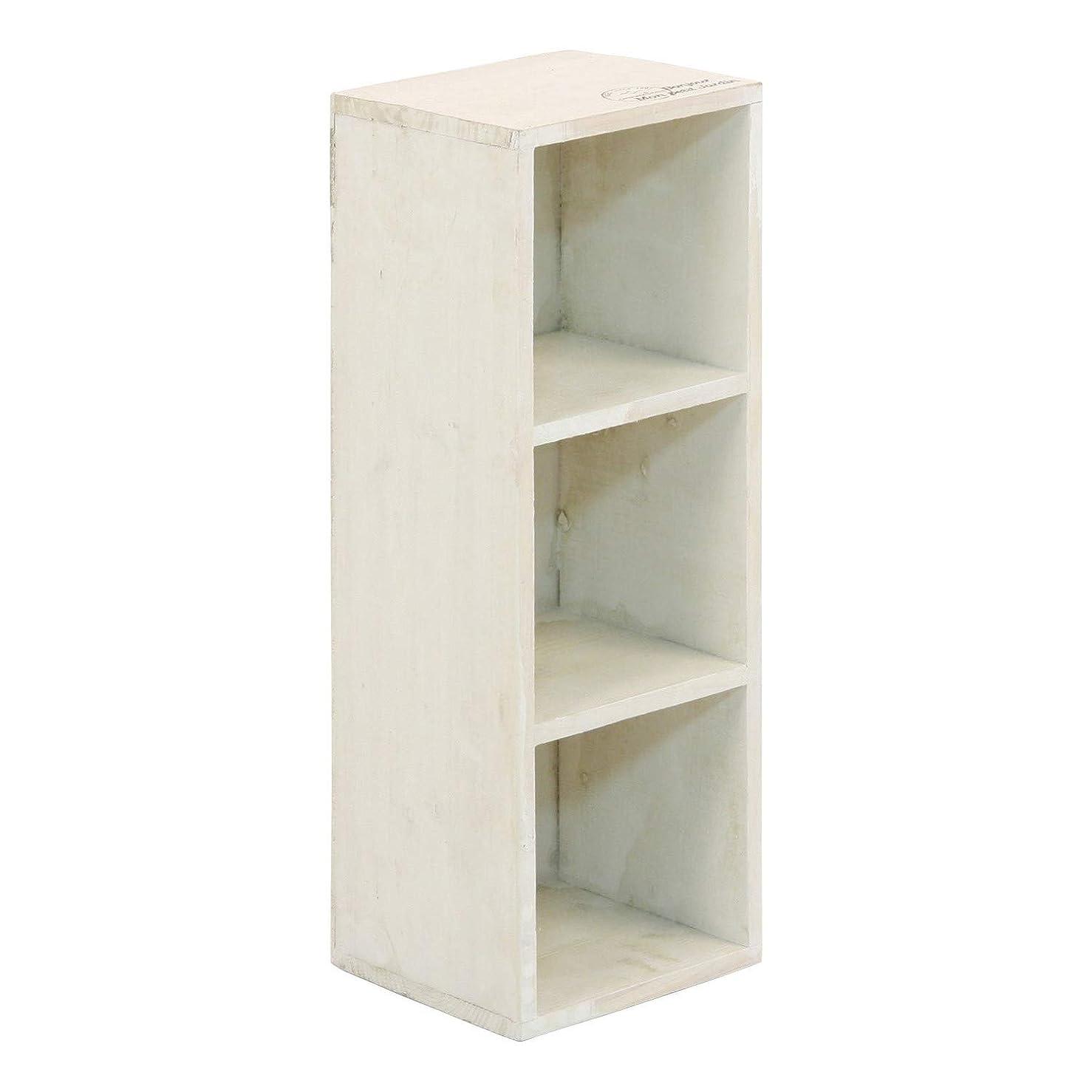 吸収するコミットメント地震不二貿易 木製 3段 ボックス  アンティーク風 ホワイト 91749