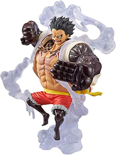 TLMYDD Spielzeug Modell Anime Charakter One Piece Dekoration Souvenir SammlerStücke Kunsthandwerk Geschenke Prellen m lich Vier Block Strohhut Lufei 14cm Spielzeugstatue