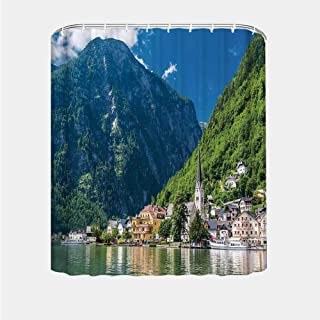 YOLIYANA Landscape Creative Shower Curtain,Natural View of Hallstatt in Austria Mountains Forest Town Houses Clear Sky for Bath Tub,72