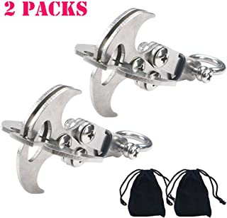 WREOW 2 IN 1 Pocket Size Gravity Hook,Stainless Steel Grappling Hook Survival Folding Rock Climbing Claw Multifunctional EDC Tool Tactical Emergency Tool for Outdoor Life (2 Pack)