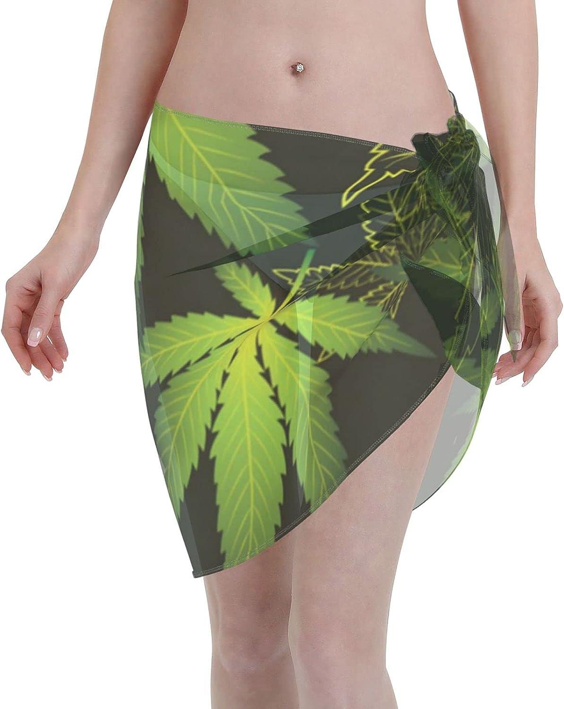 IGKVUWH Tropical Hemp Leaves Women Short Sarongs Beach Wrap Sheer Bikini Wraps Chiffon Cover Ups for Swimwear