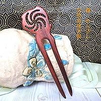 かんざし 簪 赤檀木製簪 二本足 竜巻 kannzasihori56