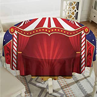 Lauren Russell Tulle Round Tablecloth Circus Canvas Tent Circus Stage Performing Theater Jokes Clown Cheerful Night Theme Blue Vermilion Tassel Tablecloth Diameter 36