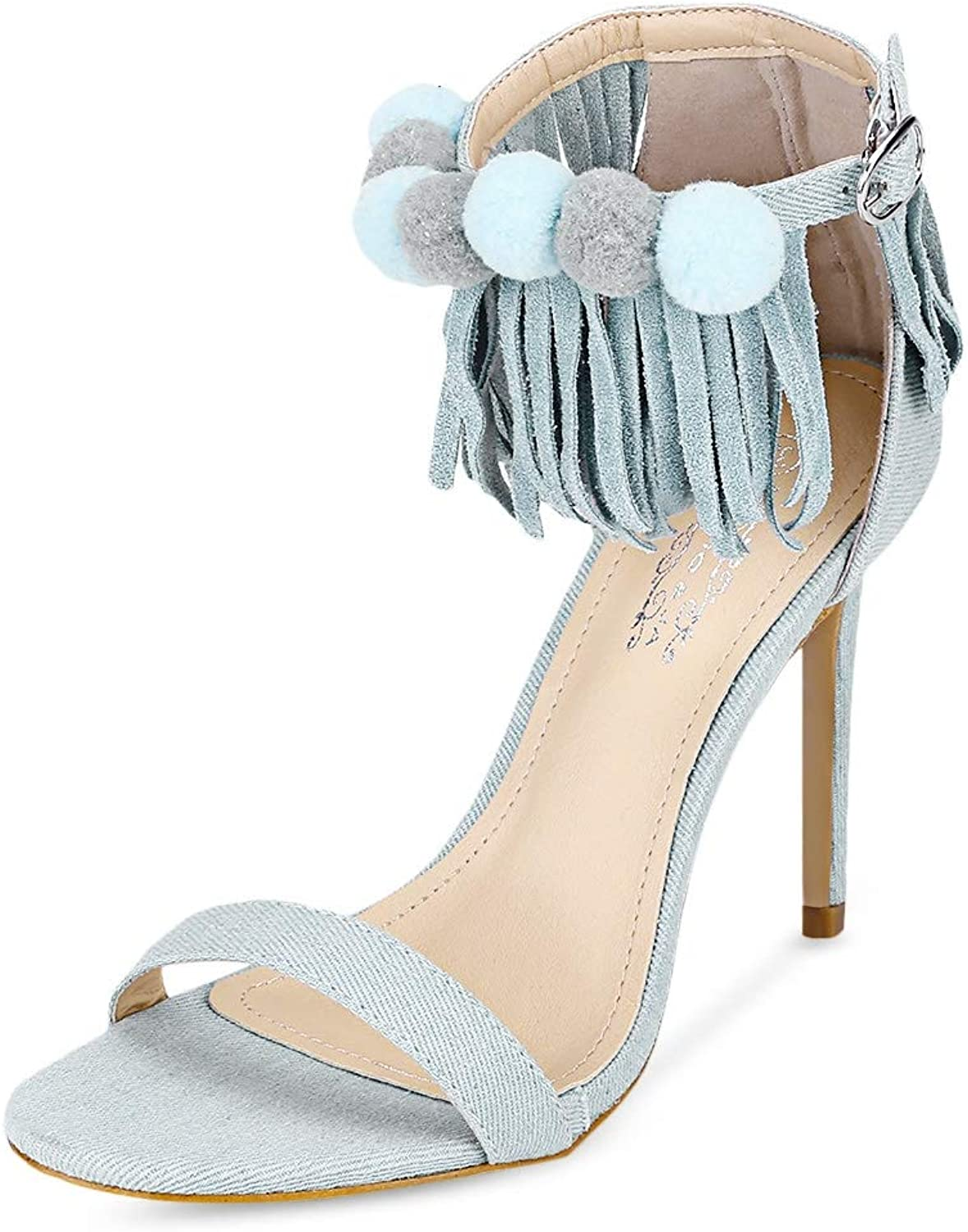KCatsy Trendy Open Toe Fringed Ankle Strap Pompon Stiletto Heel Women Sandals