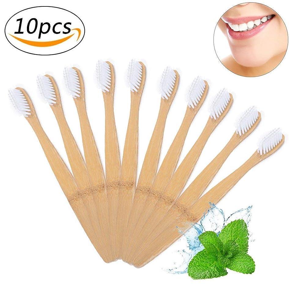 超高層ビル振る舞うアブセイ竹の歯ブラシ 環境保護の歯ブラシ 柔らかいブラシ 分解性 耐久性 ホワイト 10本入