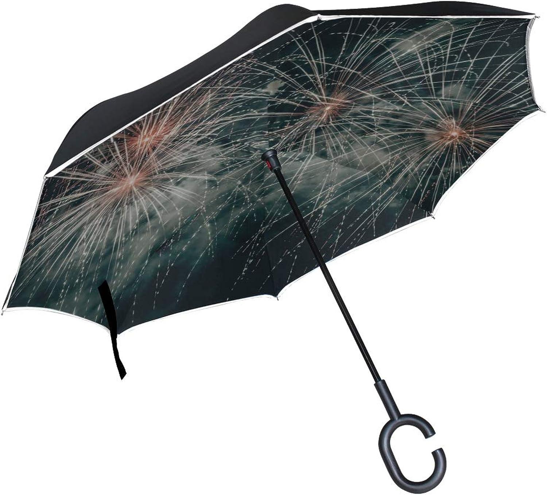 Rh Studio Ingreened Umbrella Salute Fireworks Sparks Large Double Layer Outdoor Rain Sun Car Reversible Umbrella