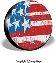 Spare Tire Cover,Culture Flag Solidarity of USA Stars Inspiration Retro Royalty Artwork,Coral White,for Jeep,Trailer, RV, SUV and Many Vehicle 14