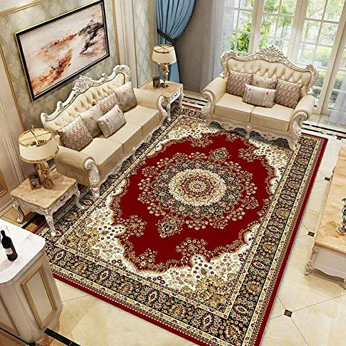 antideslizante alfombras ¡Alfombra insonorizada del sofá de la alfombra del diseño del estampado de flores floral alfombra moderna de la mesa de centroalfombra baño antideslizante -rojo_Los 200x300cm