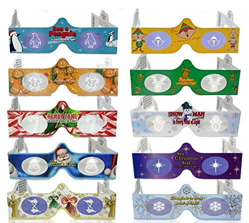 3D Christmas Glasses - 10 Pack Holiday Specs - Hologram Holiday Images