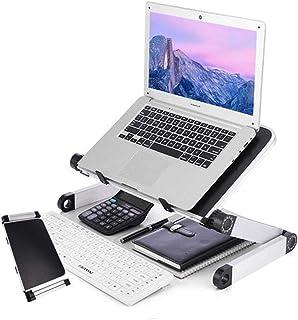 TOPKUN ノートパソコンスタンド 折りたたみ式 タブレットスタンド サイドテーブル 膝上テーブル パソコンデスク ベッドテーブル PCスタンド 高さ/角度調整可能 pc/MacBook/ラップトップ/iPadに対応 アルミ製(黒)
