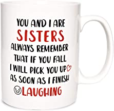 Bosmarlin Large Funny Coffee Mug Birthday Gift for Sister, 17.5 Oz, Dishwasher and Microwave Safe (We are sisters)