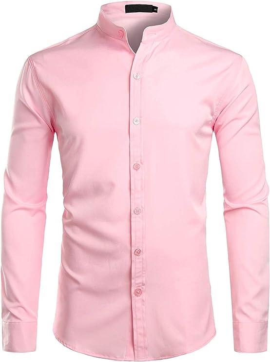 1920s Men's Shirts and Collars History ZEROYAA Mens Hipster Solid Slim Fit Long Sleeve Mandarin Collar Dress Shirts  AT vintagedancer.com