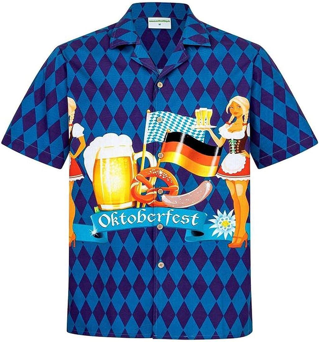 Tropical Beverage Hawaiian Shirts for Men - Summer Drinking Button Down Mens Hawaiian Shirts Short Sleeve Series 72