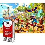 GREAT ART papel tapiz fotográfico habitación infantil - piratas - decoración mural aventura niños niña ilustración cómico 210 x 140 cm - Papel Tapiz 5 Piezas Incluye Pasta