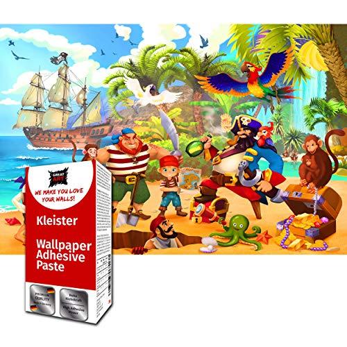 GREAT ART Fototapete Kinderzimmer – Piraten 210 x 140 cm – Wandbild Dekoration Schatzsuche Kinder Jungen Mädchen Illustration Comic Wandtapete – 5 Teile Tapete inklusive Kleister
