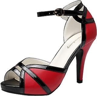 getmorebeauty Women's White Black Peep Toes Buckle Dress Heeled Sandals