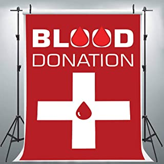 Blood Donation White Cross Red Photography Backdrop for Events, 6x9FT, Medical Hospital Banner Background, Photo Booth Studio Props LHLU524