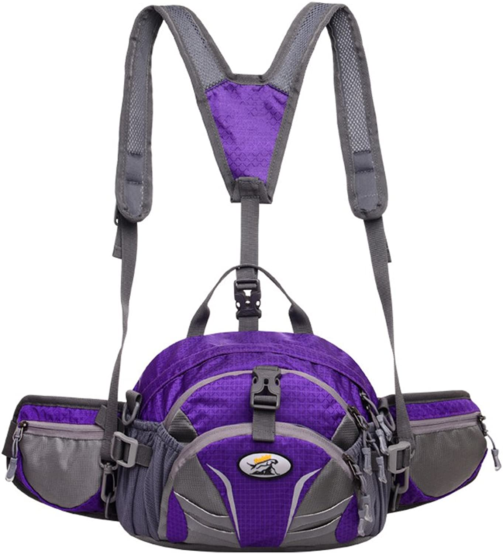 Outdoor Sports Fashion Big Pockets MultiFunction Single Shoulder Portable Unisex Hiking Travel Backpack (color   Purple)