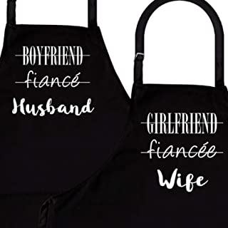 Husband & Wife   2-Piece Kitchen Apron Set   Matching Engagement Wedding Anniversary Bridal Shower Gift for Bride   Wedding Gifts for The Couple Unique   Newly Married Presents