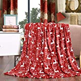 Elegant Comfort Velvet Touch Ultra Plush Christmas Holiday Printed Fleece Throw/Blanket-50 x 60inch, (Reindeer), 50 x 60 inch