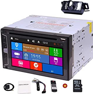 EinCar 6.2''Multi-Touch Screen Stereo Universal Double Din Navigation Headunit in Dash GPS Car DVD Player with HD Rearview Camera Bluetooth Auto Radio + Remote Control + 8GB Map Card