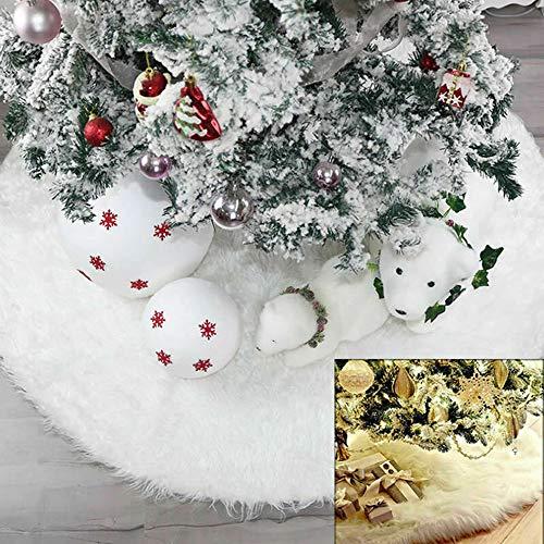 Yueshop Christmas Tree Skirt Long Snow Plush Christmas...