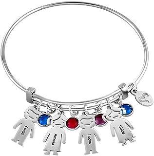 Personalized Custom Name Kid Charm Bracelet with Swarovski Crystals 925 Silver