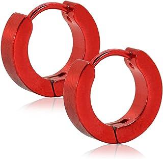2x creoli acciaio temperato orecchini con chiusura a incastro huggie rosso