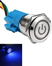 ESUPPORT Stainless Steel 19mm 12V 5A Power Symbol Angel Eye Halo Car Blue LED Light Metal Push Button Toggle Switch Socket Plug Wire Waterproof