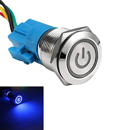 19mm 12V 5A Car Green Led Light Metal Push Toggle Switch Plug WYS Sales