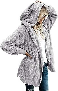 Womens Fuzzy Fleece Loose Open Front Hooded Cardigan Coats Outwear Pockets