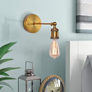 NOVO Light Indoor Sconce Wall Lamp Adjustable 1-Light Antique Retro with Exposed Bulbs E26 Base for Bedroom Brass