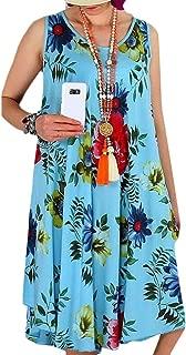 FSSE Women Summer Sundress Shirt Dress Print Loose Fit Beach Party Mini Dress