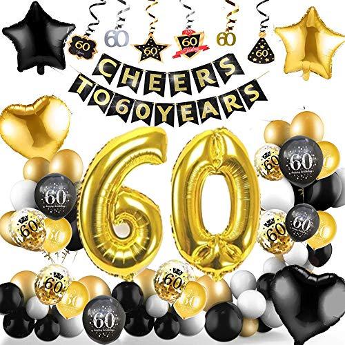 60 Cumpleaños Decoracione, Globos Feliz Cumpleaños Negro y Dorado Decoración Fiesta Cumpleaños, Suministros para Hombres y Mujeres Adultos Decoración de Manteles,Confetti,Globos de Látex Impresos