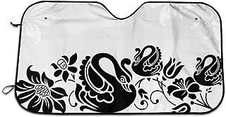 車のフロントガラスの日よけ、渦巻き咲く花のパターンで抽象的な波で泳ぐ黒鳥のカップル、フロントウィンドウの日よけバイザーシールドカバー(27.5 x 51)