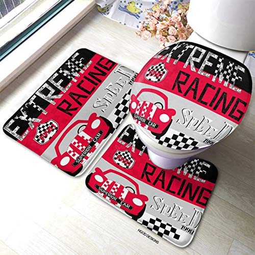HGOD DESIGNS Red Race Car Bath Mat Cute Car Cartoon with Glasses On Striped Background Bathroom 3 Piece Set Non-Slip Bathmat Antiskid Pad Doormat and Toilet Lid Cover Set